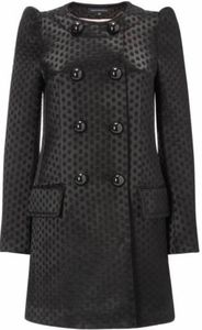 FRENCH CONNECTION Dotty Dream Coat, Black, sz 8